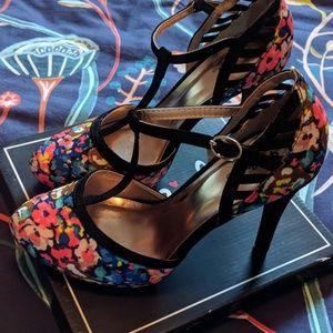 Floral T-strap Heels